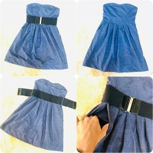 Denim stretchy strapless belted summer mini dress
